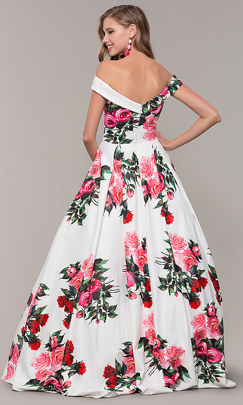 Image of off-the-shoulder long floral-print prom dress.  Style: JO-JVN-JVN65965 Back Image