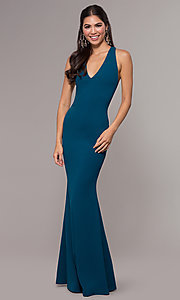 Image of mermaid-style long prom dress in jersey spandex. Style: MCR-PL-3055 Front Image