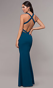 Image of mermaid-style long prom dress in jersey spandex. Style: MCR-PL-3055 Back Image