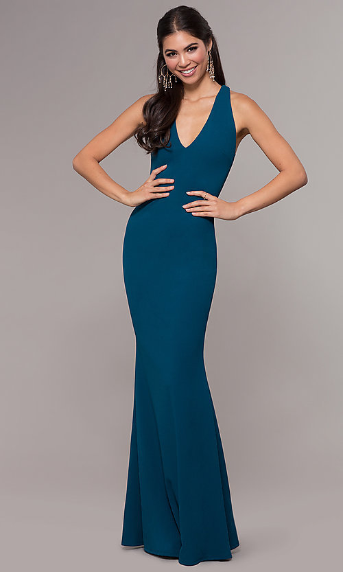 Image of mermaid-style long prom dress in jersey spandex. Style: MCR-PL-3055 Detail Image 3