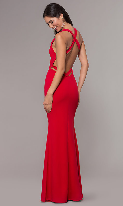 Image of mermaid-style long prom dress in jersey spandex. Style: MCR-PL-3055 Detail Image 5