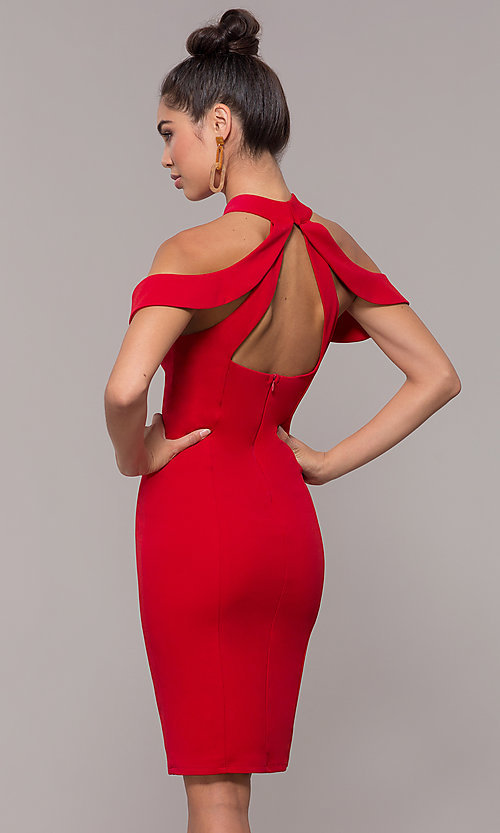 Image of cold-shoulder semi-formal dress by Simply. Style: MCR-SD-2661 Back Image