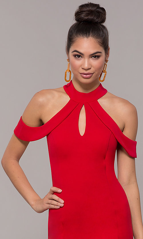 Image of cold-shoulder semi-formal dress by Simply. Style: MCR-SD-2661 Detail Image 1
