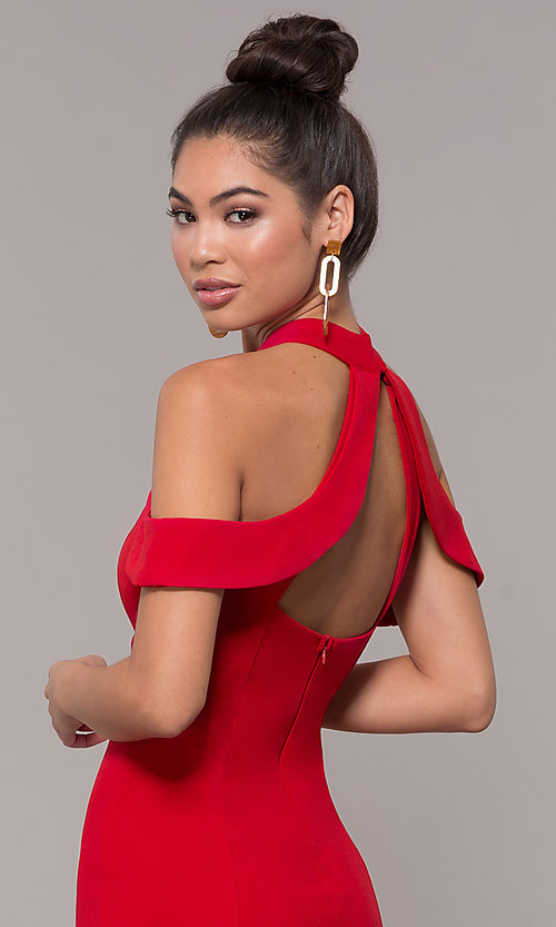 Image of cold-shoulder semi-formal dress by Simply. Style: MCR-SD-2661 Detail Image 6