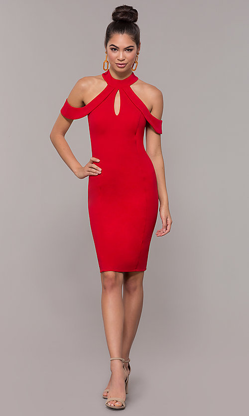 Image of cold-shoulder semi-formal dress by Simply. Style: MCR-SD-2661 Detail Image 3