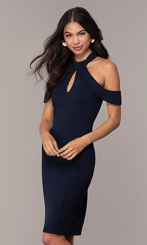Image of cold-shoulder semi-formal dress by Simply. Style: MCR-SD-2661 Front Image