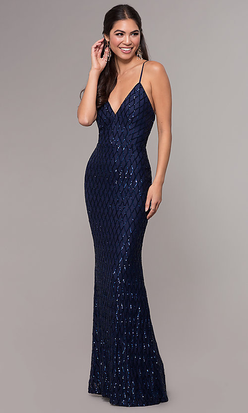 Image of sequin-print long v-neck formal prom dress. Style: MCR-PL-2656 Front Image