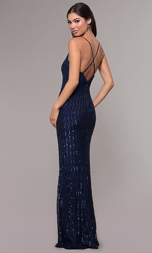 Image of sequin-print long v-neck formal prom dress. Style: MCR-PL-2656 Back Image