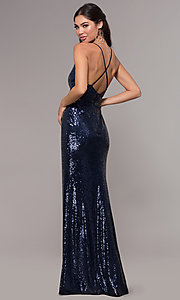Image of sequin long formal prom dress with open back. Style: MCR-PL-2657 Detail Image 5