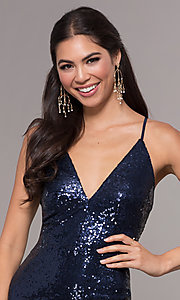 Image of sequin long formal prom dress with open back. Style: MCR-PL-2657 Detail Image 6