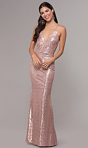 Image of sequin long formal prom dress with open back. Style: MCR-PL-2657 Front Image