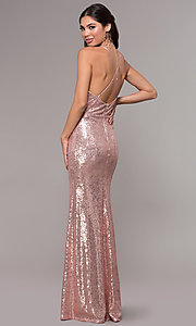 Image of sequin long formal prom dress with open back. Style: MCR-PL-2657 Back Image
