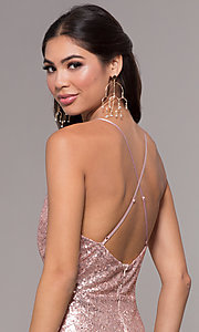 Image of sequin long formal prom dress with open back. Style: MCR-PL-2657 Detail Image 2