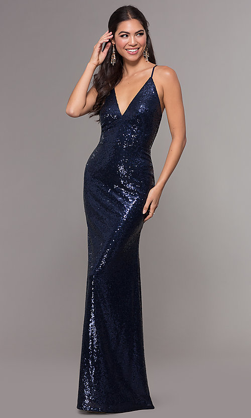 Image of sequin long formal prom dress with open back. Style: MCR-PL-2657 Detail Image 4