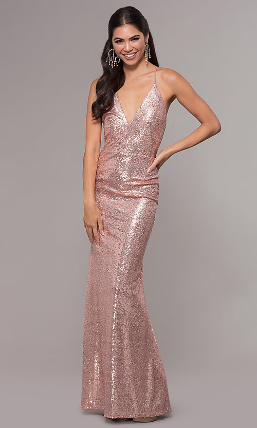 Image of sequin long formal prom dress with open back. Style: MCR-PL-2657 Detail Image 3
