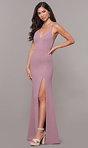Image of open-back v-neck long formal prom dress by Simply. Style: MCR-SD-2655 Detail Image 3