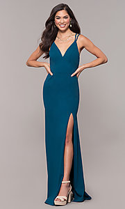 Image of open-back v-neck long formal prom dress by Simply. Style: MCR-SD-2655 Detail Image 4
