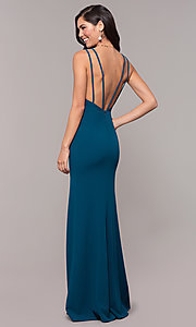 Image of open-back v-neck long formal prom dress by Simply. Style: MCR-SD-2655 Back Image