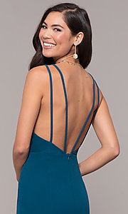 Image of open-back v-neck long formal prom dress by Simply. Style: MCR-SD-2655 Detail Image 2