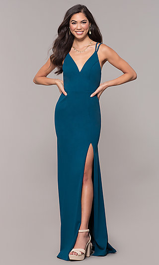 Open-Back V-Neck Long Formal Prom Dress by Simply