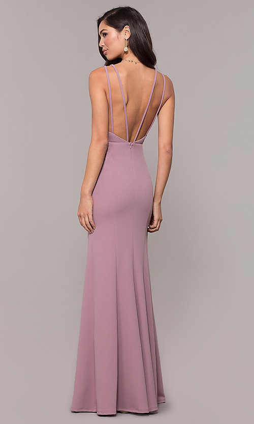 Image of open-back v-neck long formal prom dress by Simply. Style: MCR-SD-2655 Detail Image 5