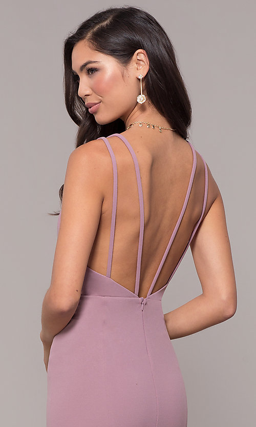 Image of open-back v-neck long formal prom dress by Simply. Style: MCR-SD-2655 Detail Image 7