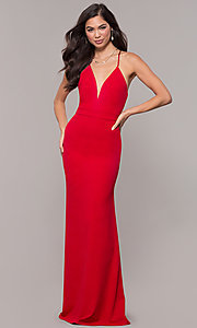 Image of v-neck jersey-crepe open-back prom dress by Simply. Style: MCR-SD-2654 Detail Image 4