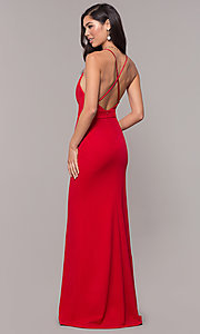Image of v-neck jersey-crepe open-back prom dress by Simply. Style: MCR-SD-2654 Detail Image 5