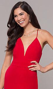 Image of v-neck jersey-crepe open-back prom dress by Simply. Style: MCR-SD-2654 Detail Image 6