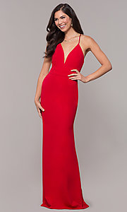 Image of v-neck jersey-crepe open-back prom dress by Simply. Style: MCR-SD-2654 Detail Image 8