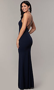 Image of v-neck jersey-crepe open-back prom dress by Simply. Style: MCR-SD-2654 Back Image