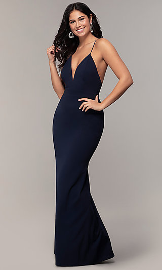 V-Neck Jersey-Crepe Open-Back Prom Dress by Simply