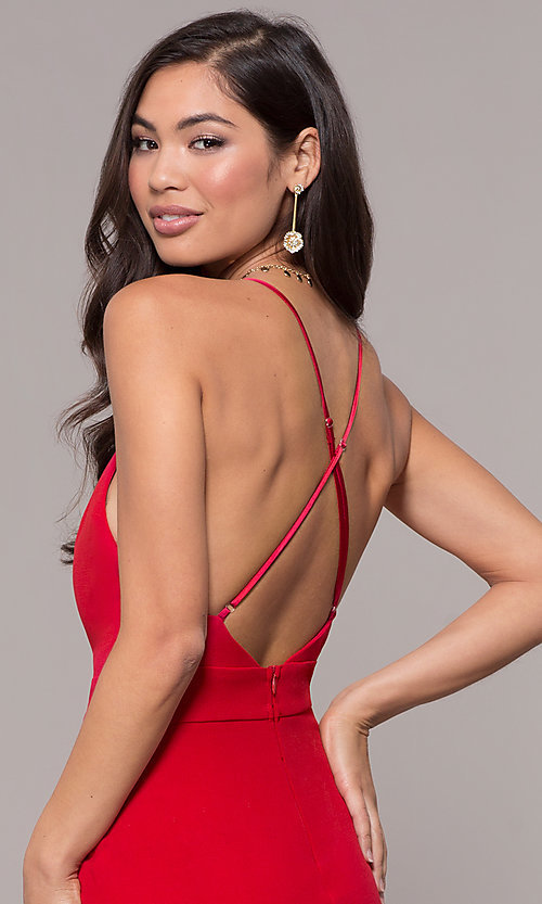 Image of v-neck jersey-crepe open-back prom dress by Simply. Style: MCR-SD-2654 Detail Image 7