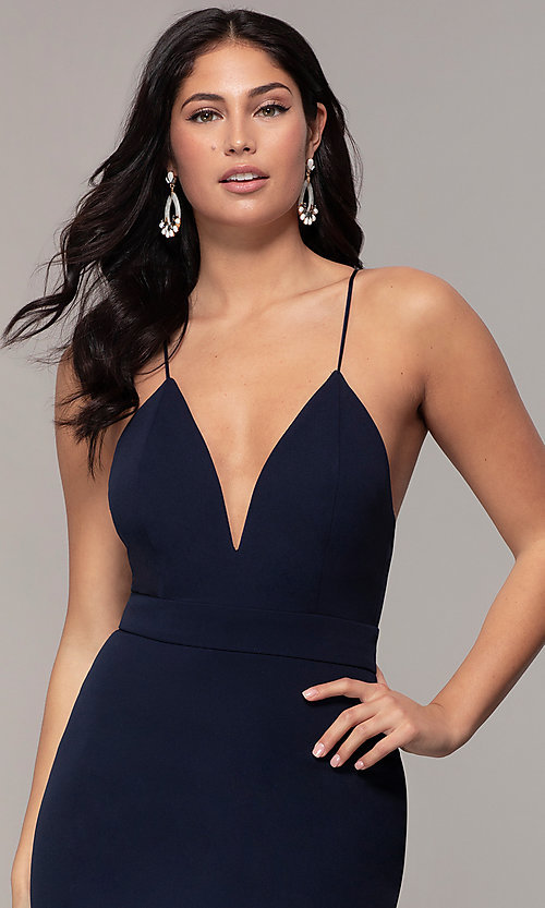Image of v-neck jersey-crepe open-back prom dress by Simply. Style: MCR-SD-2654 Detail Image 1