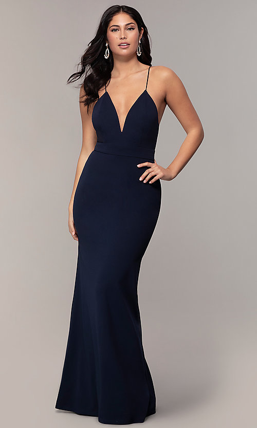 Image of v-neck jersey-crepe open-back prom dress by Simply. Style: MCR-SD-2654 Front Image