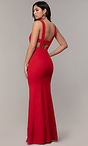 Image of v-neck long formal mermaid dress by Simply. Style: MCR-SD-2650 Detail Image 5