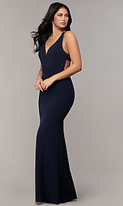 Image of v-neck long formal mermaid dress by Simply. Style: MCR-SD-2650 Back Image