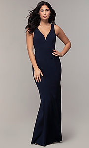 Image of v-neck long formal mermaid dress by Simply. Style: MCR-SD-2650 Detail Image 3