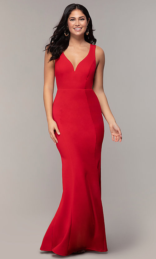 Image of v-neck long formal mermaid dress by Simply. Style: MCR-SD-2650 Detail Image 4