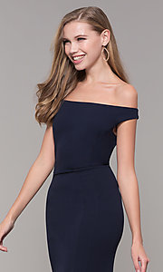 Image of navy blue off-the-shoulder formal gown by Simply. Style: MCR-SD-2649 Detail Image 1
