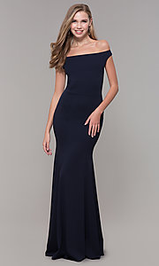 Image of navy blue off-the-shoulder formal gown by Simply. Style: MCR-SD-2649 Detail Image 3