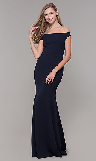 Navy Blue Off-the-Shoulder Formal Gown by Simply