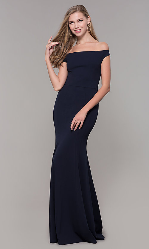 Image of navy blue off-the-shoulder formal gown by Simply. Style: MCR-SD-2649 Front Image