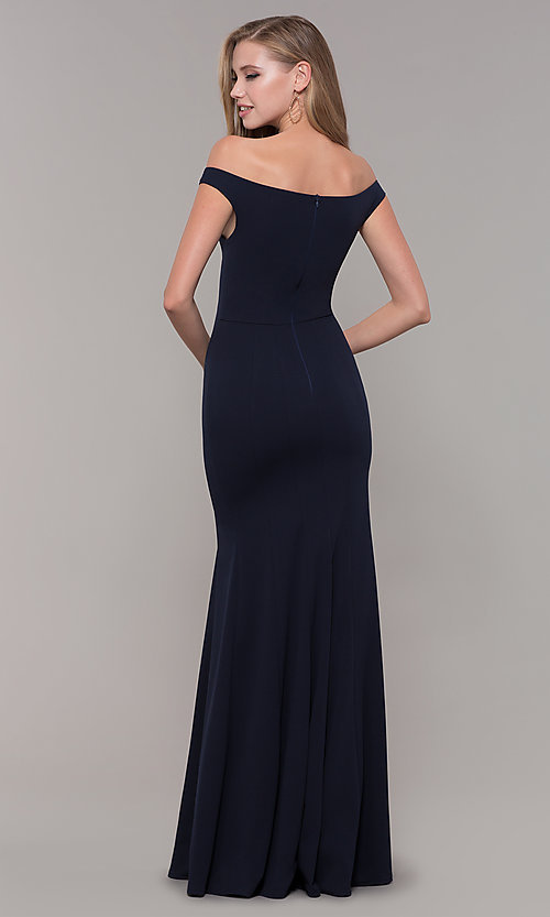 Image of navy blue off-the-shoulder formal gown by Simply. Style: MCR-SD-2649 Back Image