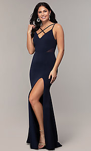 Image of criss-cross v-neck long navy formal dress by Simply. Style: MCR-SD-2647 Detail Image 3