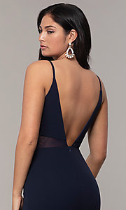 Image of criss-cross v-neck long navy formal dress by Simply. Style: MCR-SD-2647 Detail Image 2