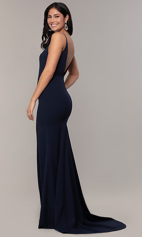 Image of criss-cross v-neck long navy formal dress by Simply. Style: MCR-SD-2647 Back Image
