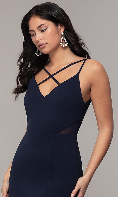 Image of criss-cross v-neck long navy formal dress by Simply. Style: MCR-SD-2647 Detail Image 1