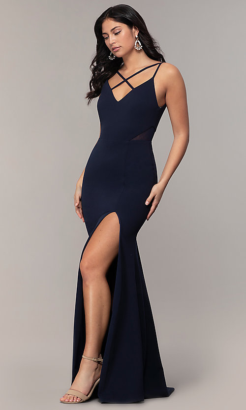 Image of criss-cross v-neck long navy formal dress by Simply. Style: MCR-SD-2647 Front Image