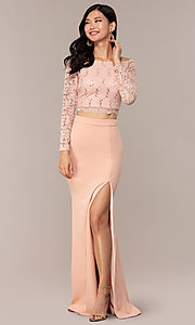 Image of three-quarter-sleeve long two-piece prom dress. Style: MCR-PL-2646 Detail Image 4